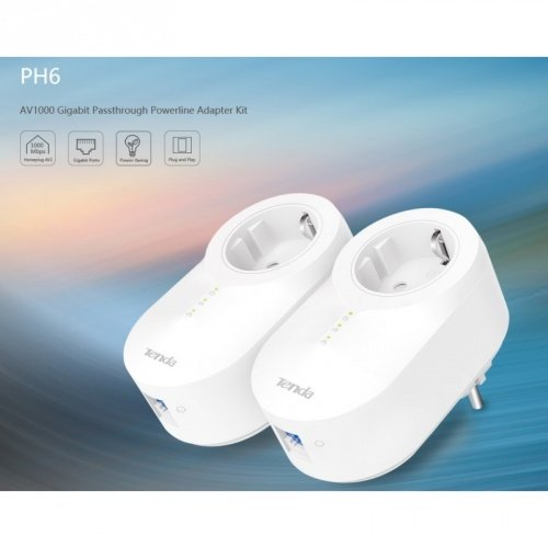 TENDA PH6 KIT POWERLINE GIGABIT CON PRESA PASSANTE